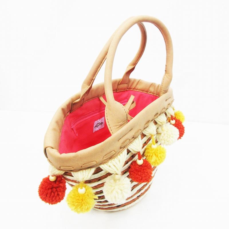 キャセリーニ casselini カゴバッグ ハンドバッグ かばん フェイクレザー キャンバス 星柄 ぼんぼん 茶 ブラウン系 ●24 レディース