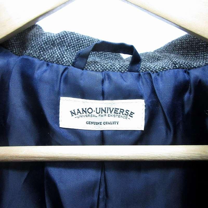 ナノユニバース nano universe ダッフルコート ショート丈 ジャケット ウール L 紺 ネイビー ●25  メンズ