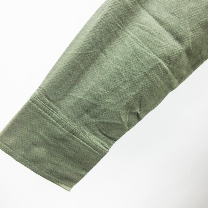 未使用品 リンジィ Lindsay シャツ ブラウス 長袖 ドロップショルダー ヘリンボーン 綿 コットン 100% M カーキ系 レディース