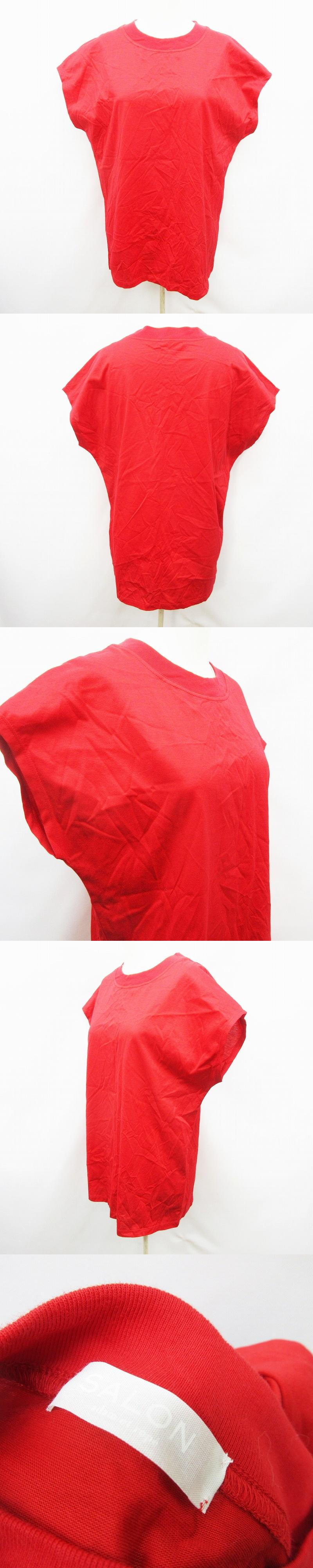 Tシャツ カットソー 半袖 フレンチスリーブ 丸首 クルーネック 無地 オーバーサイズ 綿 コットン 100% F (L相当) 赤 レッド系 ●27