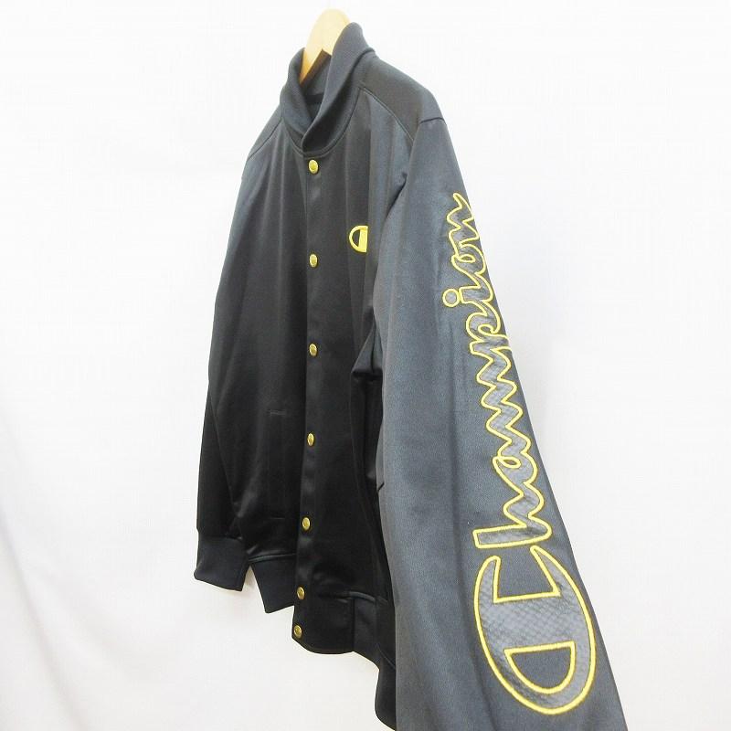 未使用品 チャンピオン CHAMPION double DRY ウォームアップ シャツ トラック ジャケット ジャージ ウェア スナップボタン ロゴ 刺繍 L 黒 ブラック系 金色 ゴールド系