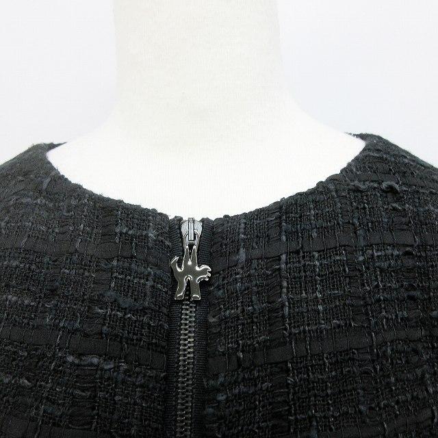 モンクレール MONCLER ガムルージュ GAMME ROUGE ウール混 シルク ノーカラー ジャケット 2 Lサイズ相当 黒 ブラック系 ●45 レディース