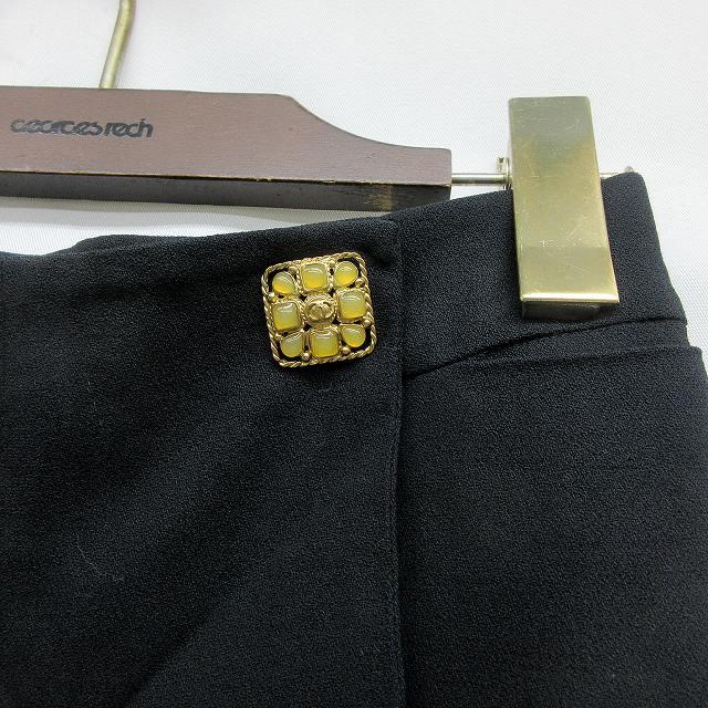 シャネル CHANEL ストレッチ ブーツカット パンツ 34 XSサイズ相当 黒 ブラック系 94305 裏地 シルク 伊製 イタリア製  レディース