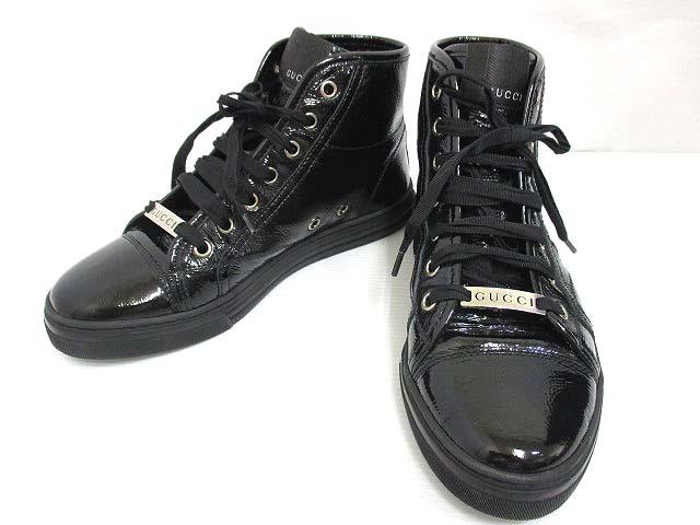 グッチ GUCCI 本革 パテントレザー ハイカット スニーカー 35.5 ブラック 黒 エナメル シワ加工 シューズ 靴 レディース