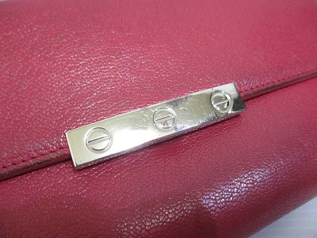 c7bf65806de3 ... カルティエ Cartier 長財布 ラブシリーズ フューシャピンク LOVE 二つ折り ホック ゴートスキン レザー L3001298 ...