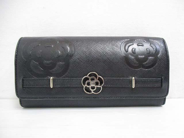 new style 80e17 067d5 クレイサス CLATHAS 長財布 二つ折り 黒 ブラック カメリア型押し レディース