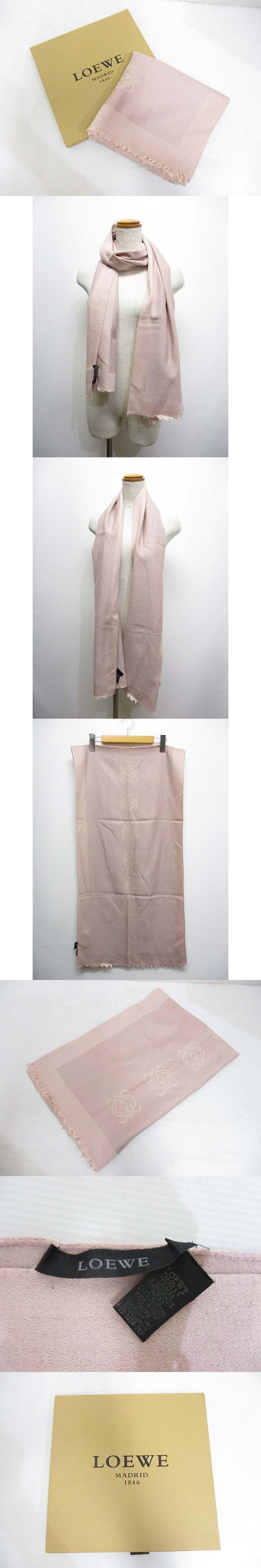ウール カシミヤ ロゴ ストール マフラー ピンク 箱付き イタリア製