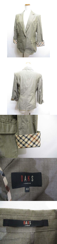 薄手 テーラード ジャケット 40 カーキ 袖折り返しチェック柄 綿100% フェイクポケット 春夏