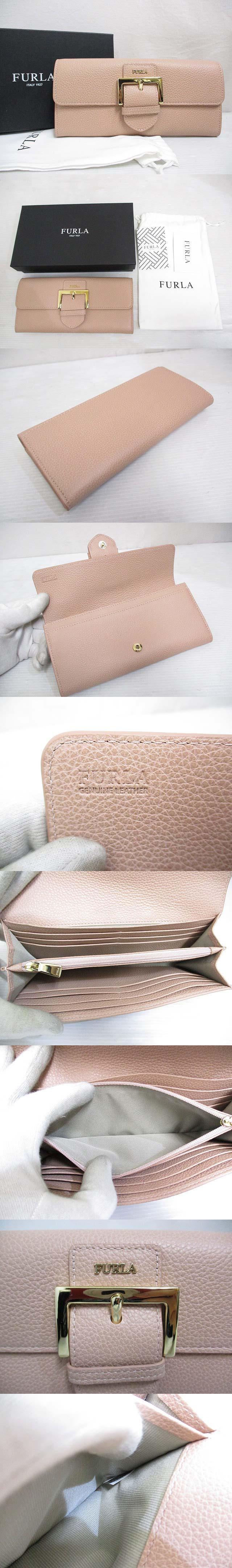 レザー 二つ折り 長財布 ピンクベージュ ホック ロゴ ベルトモチーフ 箱 保存袋付き