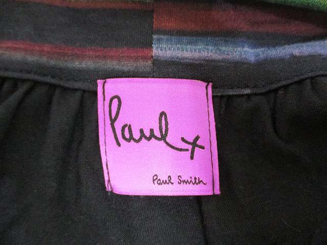 ポールスミス PAUL SMITH paul+ 半袖 コクーン ワンピース M 黒 ブラック ストレッチ 日本製 正規 レディース