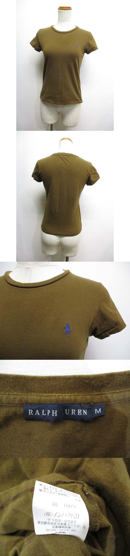 半袖 フレンチスリーブ Tシャツ カットソー M 茶 ブラウン ポニー刺繍 クルーネック 正規