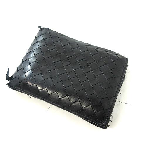 reputable site 7d569 a0c3e ボッテガヴェネタ BOTTEGA VENETA イントレチャート 113112-V4651 二つ折り財布ウォレット黒ブラック メンズ