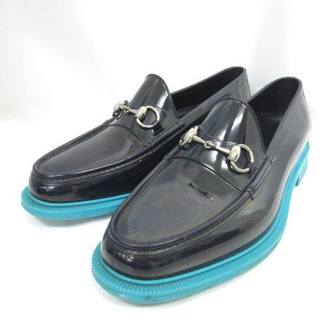 グッチ GUCCI ☆AA☆ラバーホースビット ローファー シューズ紺ネイビー8 靴 メンズ