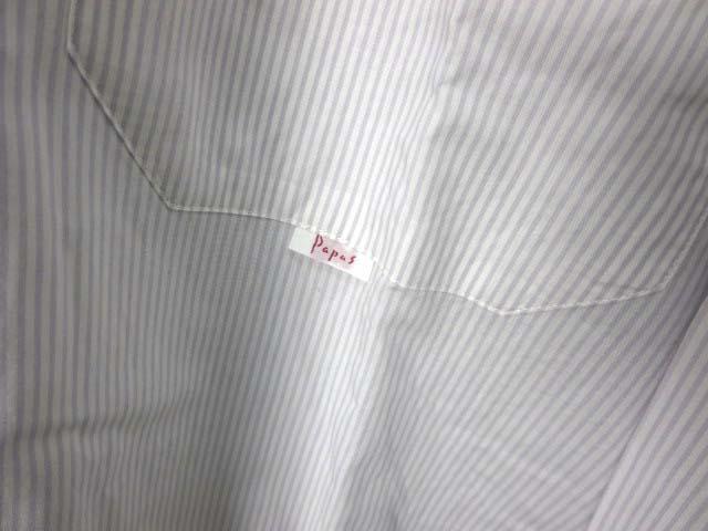 パパス Papas シャツ ストライプ ロゴ 刺繍 長袖 L 白 グレー メンズ