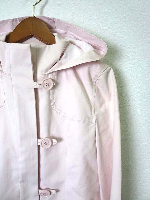 クレージュ courreges ジャケット ブルゾン フード コットン シルク 中綿 キルティング ライナー付 ジップアップ 長袖 M ピンク レディース