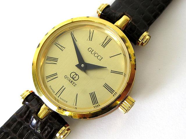 e8247d54cefd グッチ GUCCI 腕時計 シェリーライン GG ゴールド レザーベルト クオーツ ウォッチ ケース付 レディース