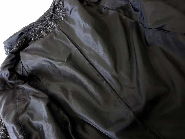 トッコ TOCCO コート フード 2way ノーカラー ツイード ウール ラメ ジップアップ 長袖 9 M 黒 ブラック グレー レディース