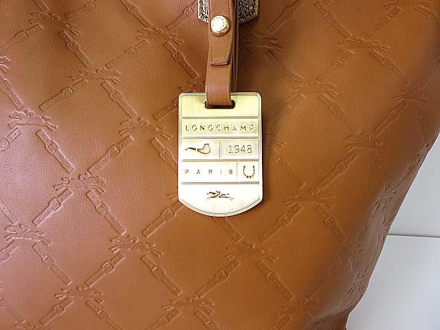 buy popular b520e 12499 ロンシャン LONGCHAMP バッグ トートバッグ レザー キュイール ロゴ型押し ブラウン ゴールド かばん 鞄 カバン レディース