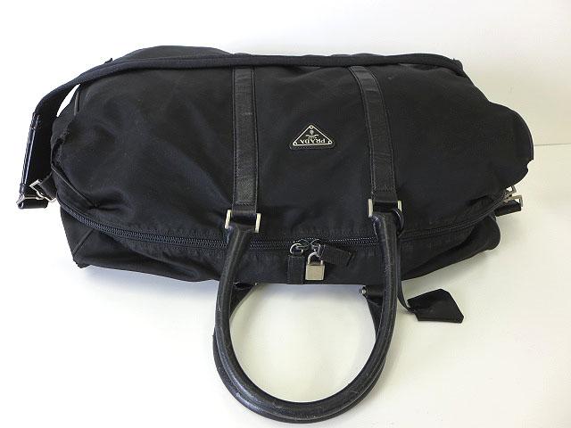 online store b293d cc7a2 プラダ PRADA バッグ 2WAY ボストンバッグ ナイロン レザー 黒 ブラック 旅行かばん 鞄 三角 ロゴ プレート  メンズ/レディース/ユニセックス