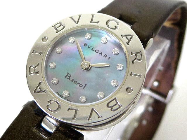 free shipping 70d3c 37d99 ブルガリ BVLGARI 腕時計 B-zero1 ビーゼロワン 12P ダイヤ BZ22S ブルー シェル文字盤 クオーツ レザー ベルト 電池交換済  レディース