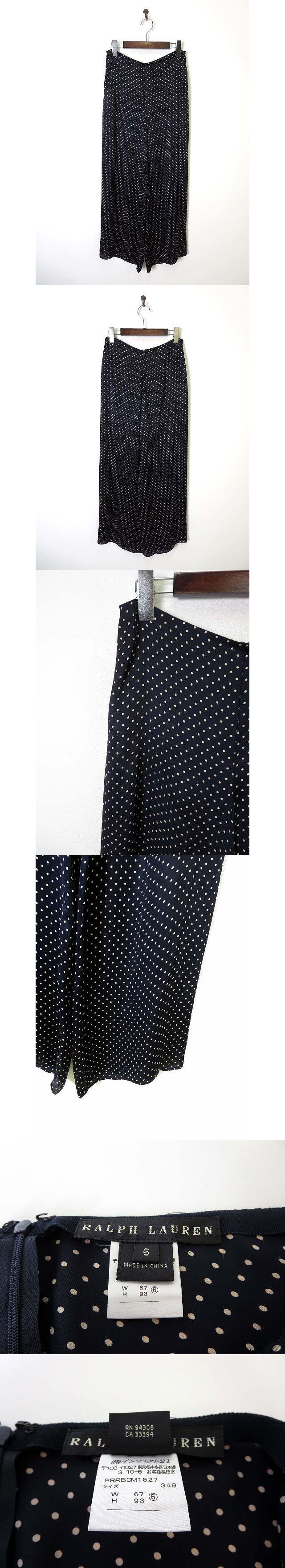パンツ ワイド シルク 絹100% 水玉ドット柄 6 L 紺 ネイビー 国内正規品