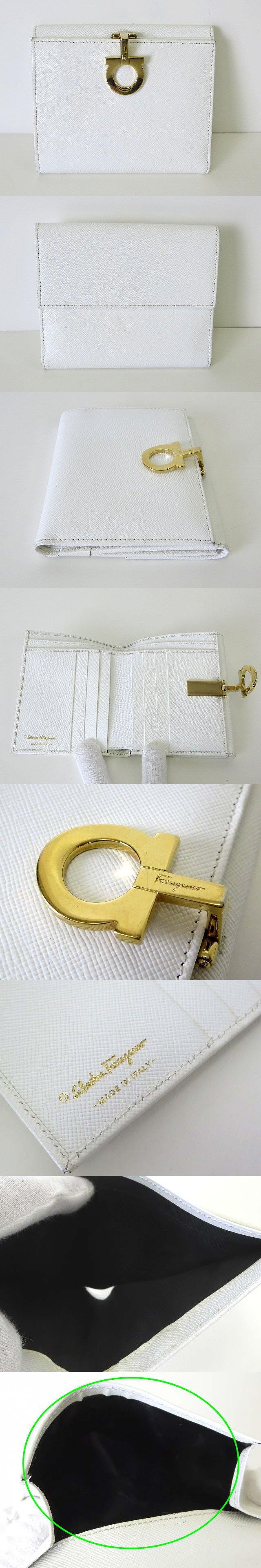財布 ガンチーニ金具 レザー カーフ 三つ折り 白 ホワイト ゴールド金具 牛革 ウォレット