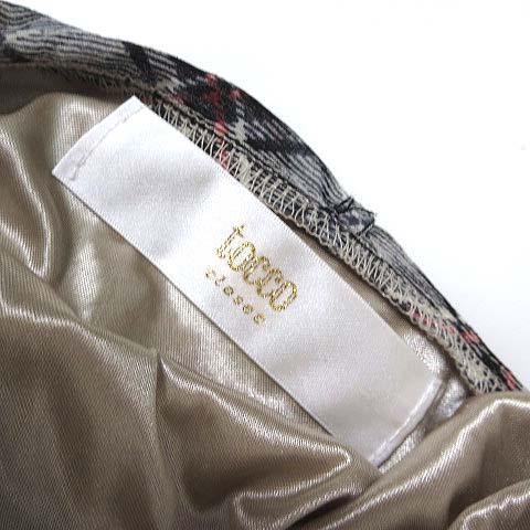 トッコ TOCCO シャツ カットソー 長袖 チェック シフォン リボンタイ フリル M 白 ホワイト マルチカラー 美品 レディース
