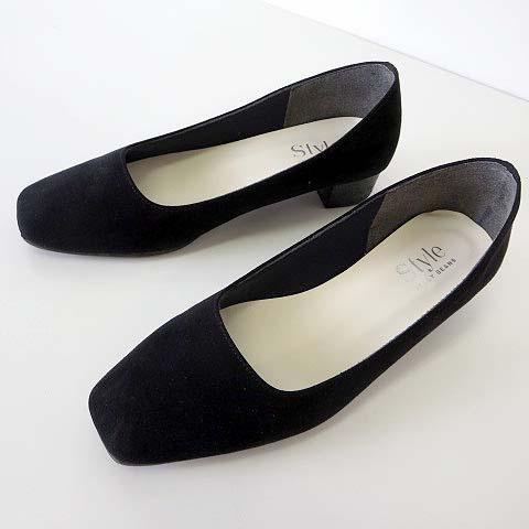 ジェリービーンズ JELLY BEANS Style パンプス スエード ローヒール 22.5 黒 ブラック くつ 靴 シューズ レディース
