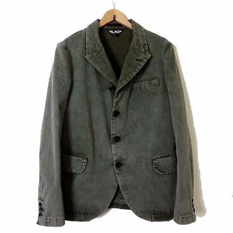 コムデギャルソンブラック COMME des GARCONS BLACK ジャケット ブレザー AD2020 ケミカル ウォッシュ 加工 テーラードジャケット L カーキ オリーブ メンズ