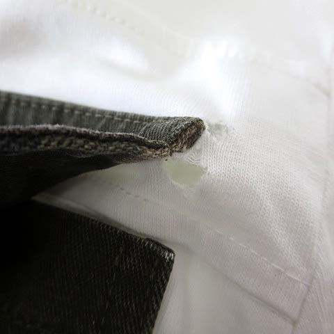ハイドロゲン HYDROGEN Tシャツ カットソー 長袖 ロンT カモフラ柄 ビッグポケット ロゴ 刺繍 S 白 ホワイト カーキ 迷彩 メンズ