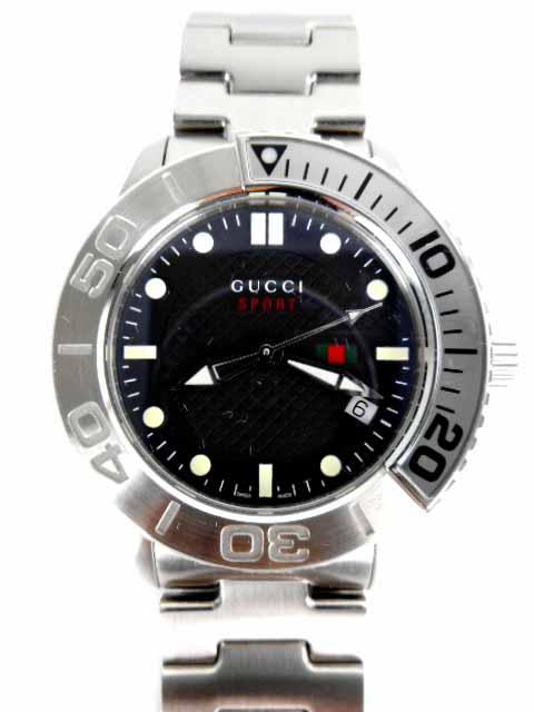 グッチ GUCCI 腕時計 Gタイムレス スポーツ YA126251 クォーツ 3針 日付 黒文字盤 シルバー 126.2 メンズ