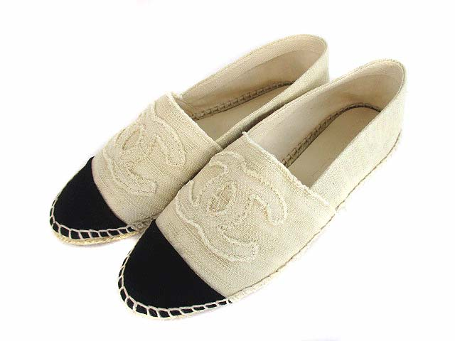 24d068d682bd シャネル CHANEL エスパドリーユ スリッポン フラットシューズ 靴 ココマーク キャンバス G27627 アイボリー 黒 38 レディース