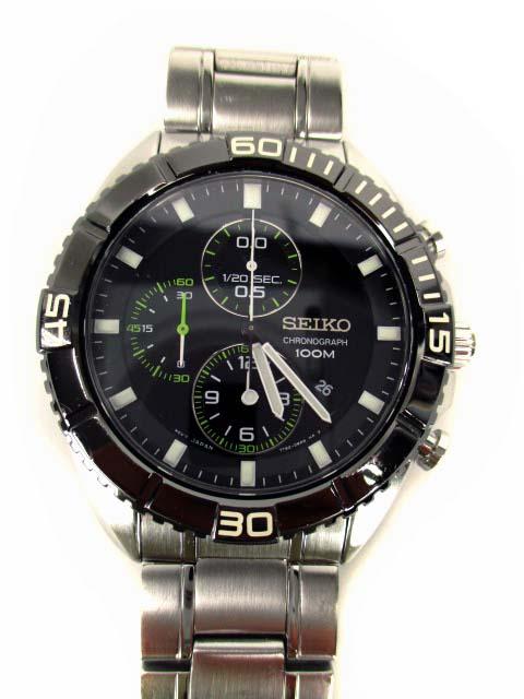 the latest 8a2e6 e2bfa セイコー SEIKO 腕時計 クロノグラフ CHRONOGRAPH 100M 7T92-0PV0 クォーツ 黒文字盤 シルバー ブラック 黒 ウォッチ  メンズ