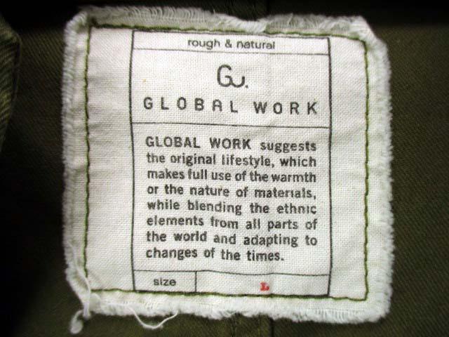 グローバルワーク GLOBAL WORK モッズコート ミリタリーコート フードファー 綿 コットン 無地 カーキ サイズL メンズ