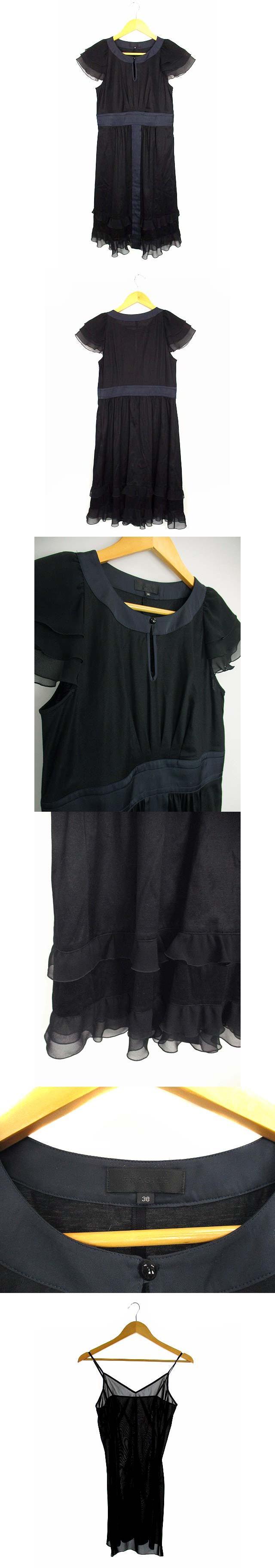 ワンピース ラッフル フリル ティアード シフォン 半袖 ひざ丈 バイカラー 無地 ブラック ネイビー 黒 紺 38