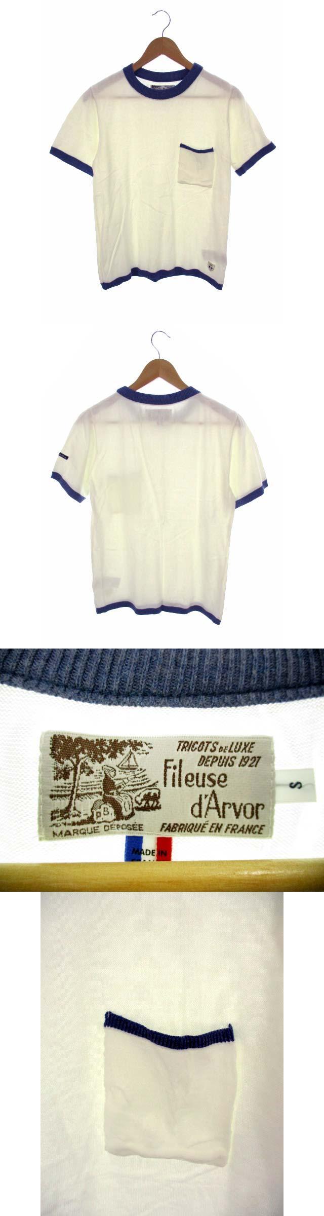 フィルーズダルボー Fileuse d'Arvor 半袖 ニット Tシャツ カットソー ポケット サマーニット 綿 コットン 白 青 ホワイト ブルー サイズS フランス製