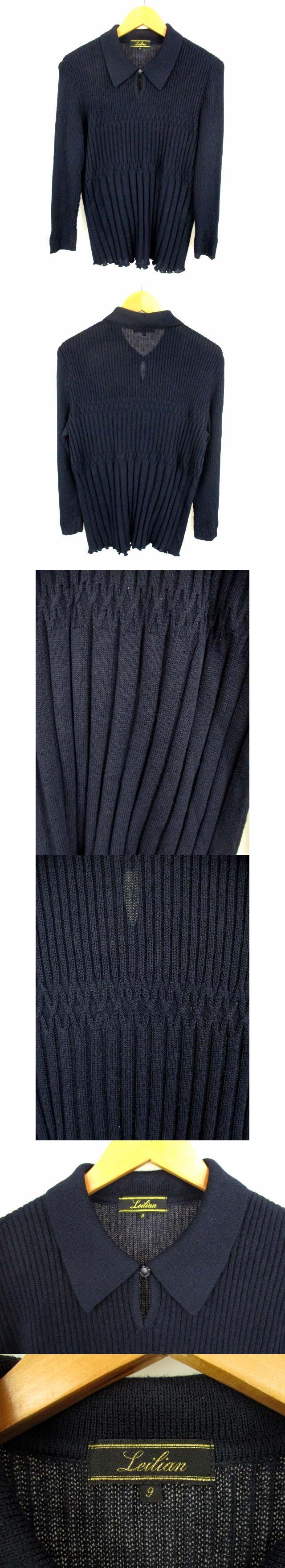 長袖 ニット セーター カットソー 薄手 襟付き レーヨン ウール ナイロン ネイビー 紺 サイズ9 日本製