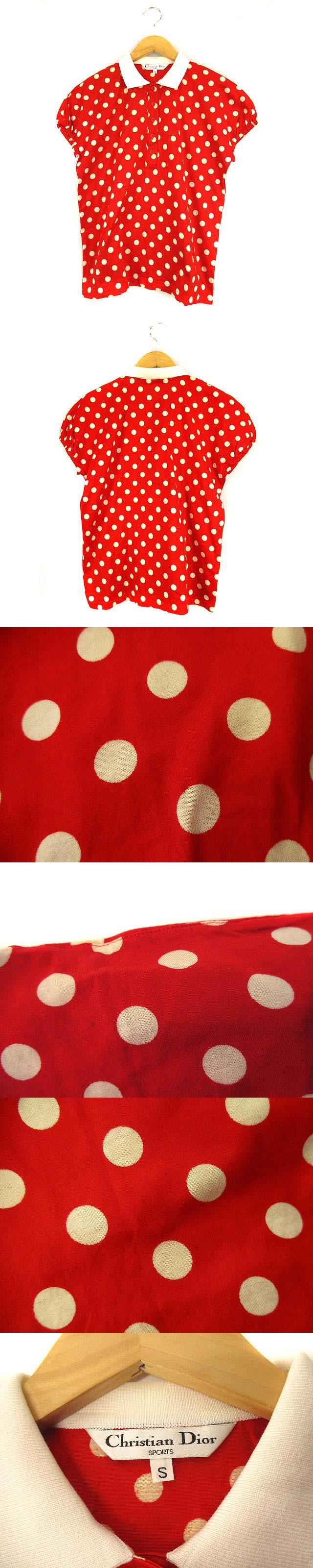SPORTS スポーツ トップス ポロシャツ 半袖 パフスリーブ ドット柄 コットン 赤 白 S