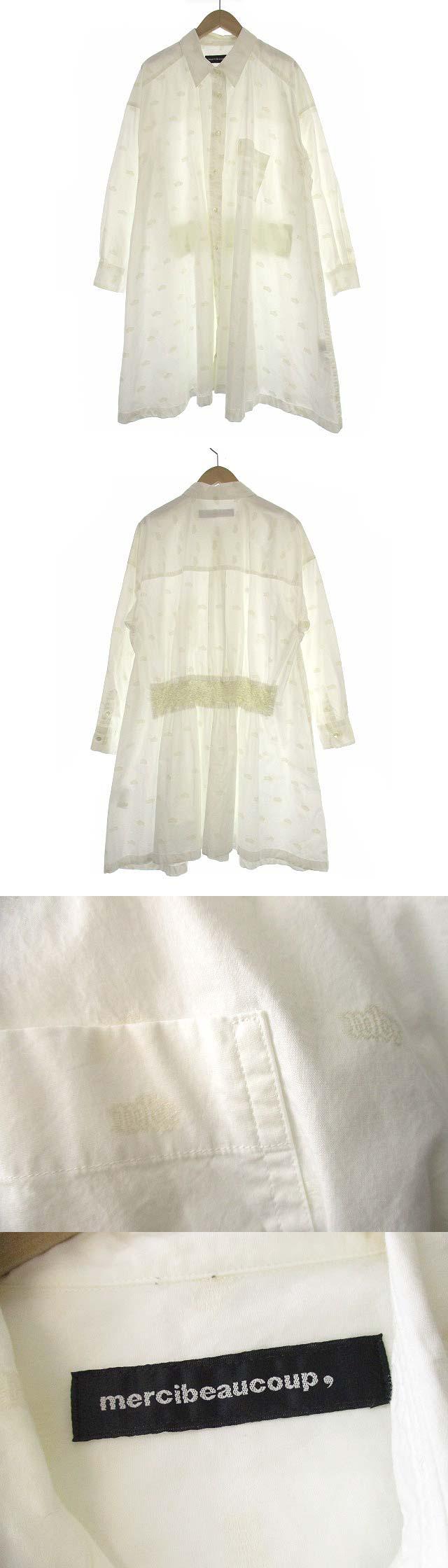ロゴジャガ シャツ ワンピース チュニック 長袖 ドロップショルダー 刺繍 コットン MB43FH006 白 1