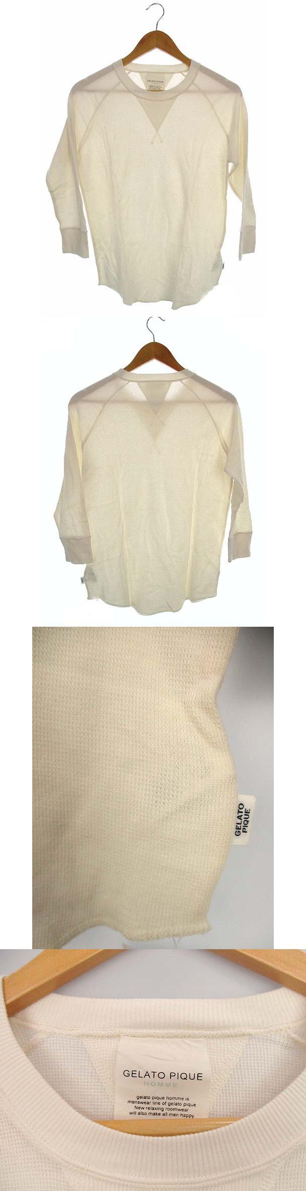 ルームウェア パジャマ トップス コットン Tシャツ ロンT カットソー ワッフル サーマル 薄手 長袖 アイボリー 白 M タグ付