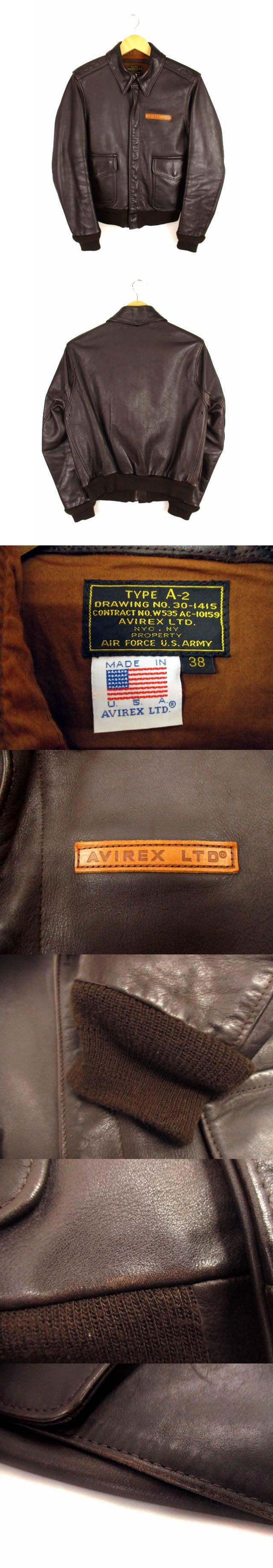 A-2 レザー フライトジャケット 革ジャン ブルゾン 牛革 ジップアップ 2191000 米国製 USA製 ブラウン 茶 サイズ38