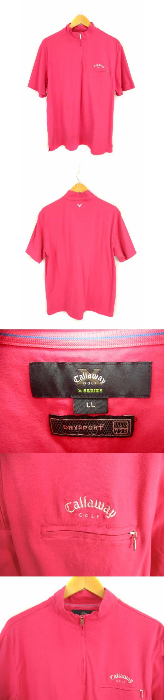 ゴルフウェア 半袖 カットソー Tシャツ スタンドカラー ハーフジップ ワンポイント刺繍 ピンク サイズLL 綿 コットン ストレッチ