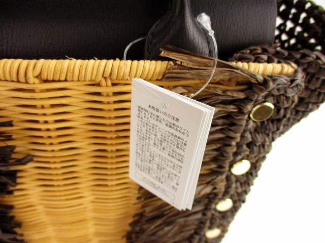 未使用品 ラウゴア Laugoa カゴバッグ ハンドバッグ 切り替え 鞄 カバン ベージュ ブラウン ブラック タグ付き レディース