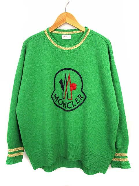 モンクレール MONCLER トップス ニット セーター 長袖 クルーネック ウール カシミヤ ロゴ 9050850 9489Y 緑 紺 グリーン ネイビー M レディース