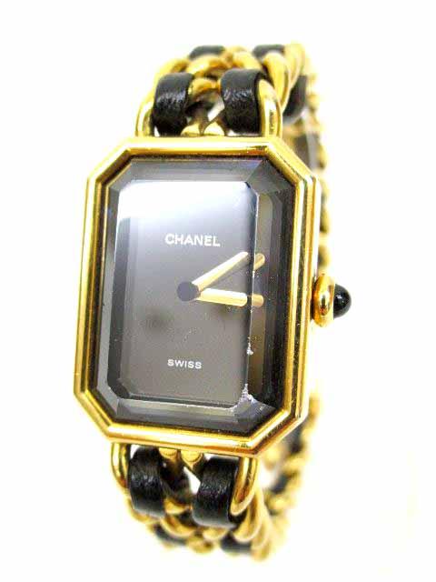 new concept d578a c7bf2 シャネル CHANEL 腕時計 プルミエール クォーツ PLAQUE OR G 20 M レザー&チェーン ジャンク ウォッチ ゴールド×ブラック  S80932 レディース