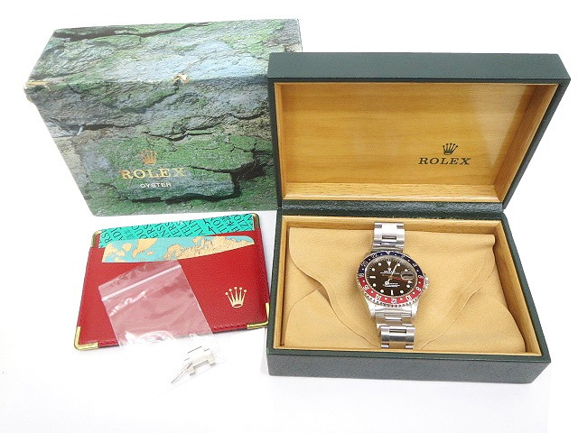 ロレックス ROLEX GMTマスター Ref 16700 赤青ベゼル 自動巻 腕時計 S番 ペプシ 国際保証書付き 初期最終型 31JEWELS シルバー C85536 メンズ