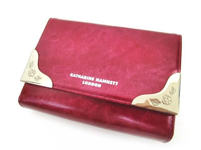 031fbb5dc248 未使用品 キャサリンハムネットロンドン KATHARINE HAMNETT LONDON 二つ折り財布 レザー がま口 レディース さいふ ウォレット  赤 レッド B90127 レディース