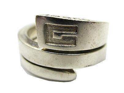 f596bb8df1e4 グッチ GUCCI スネーク リング 指輪 Gロゴ 巻き 925 16号 シルバー C00403 メンズ