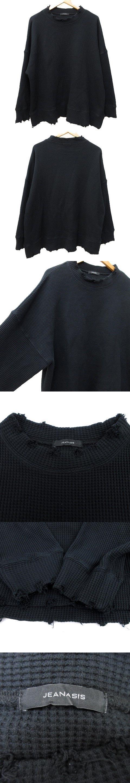 サーマル カットソー 長袖 オーバーサイズ ダメージ加工 トレーナー ルーズ F 黒 ブラック Y08503