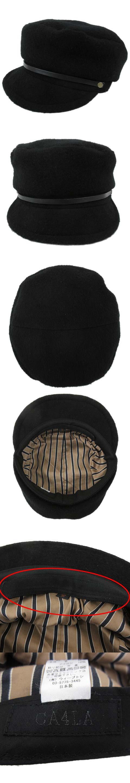 マリンキャップ キャスケット 帽子 ウール レザーベルト 黒 ブラック R010908